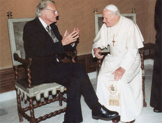 """billy graham the pope of protestant Retiring ( resigning ) pope benedict xvi, ecumenical billy graham and """"the mighty money man of wall street"""" bernie madoff exposed as some of the most successful and long lasting con-artists in history."""